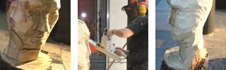 LIVE-Carving: Holzskulpturen • Holz-Bildhauerin als Live-Aktion, Live-Act • Künstleragentur MrTom aus Dortmund im Ruhrgebiet in Nordrhein-Westfalen / NRW